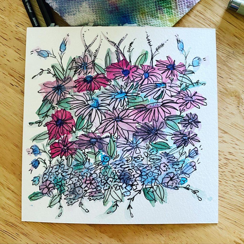 Sloppy, messy, fast watercolor flowers.