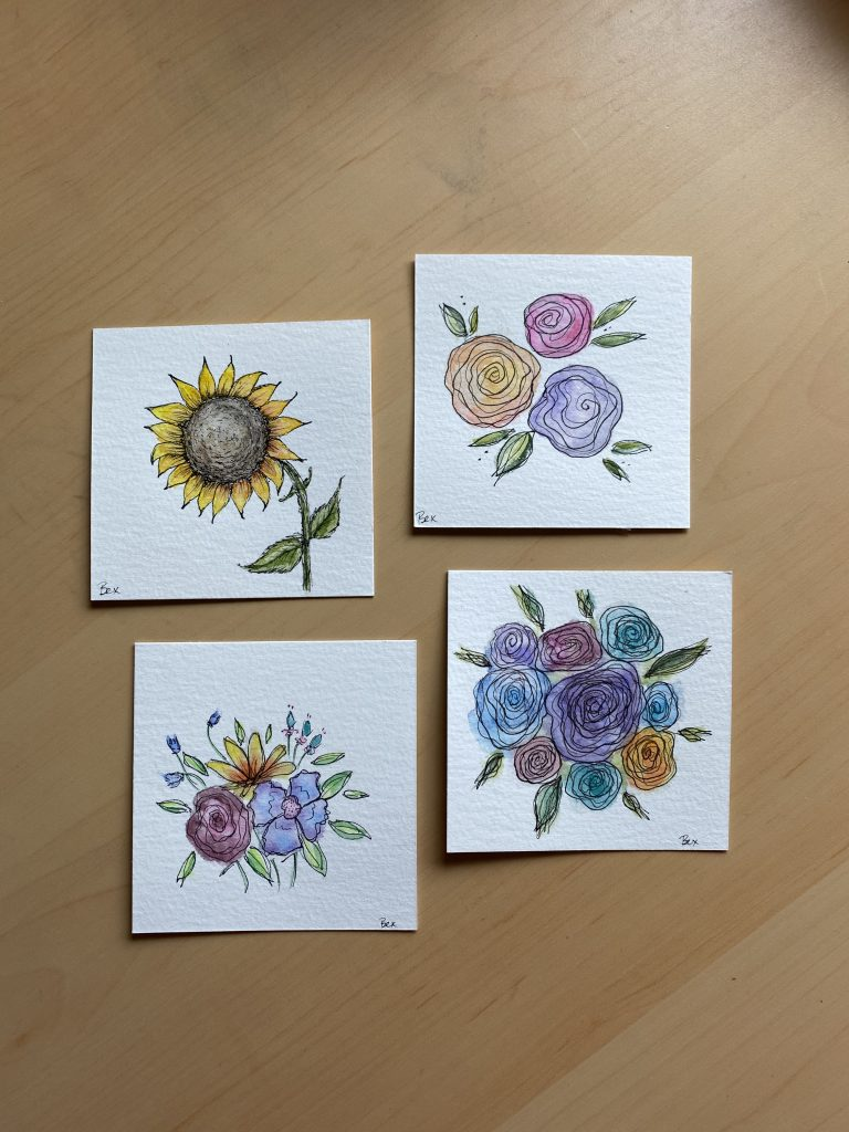 Hand drawn watercolor florals