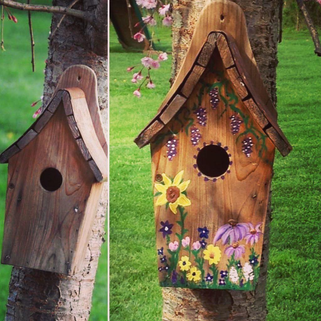 Painted birdhouse.