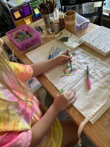 Nail apron art in progress