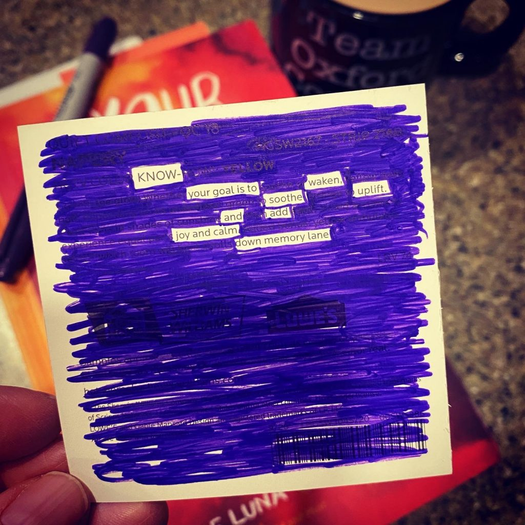 Lunchbox love note blackout poetry