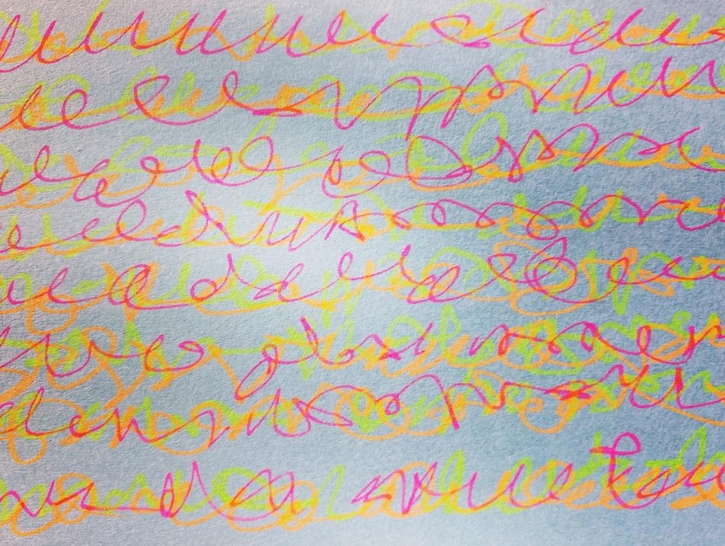 Fake cursive with highlighters