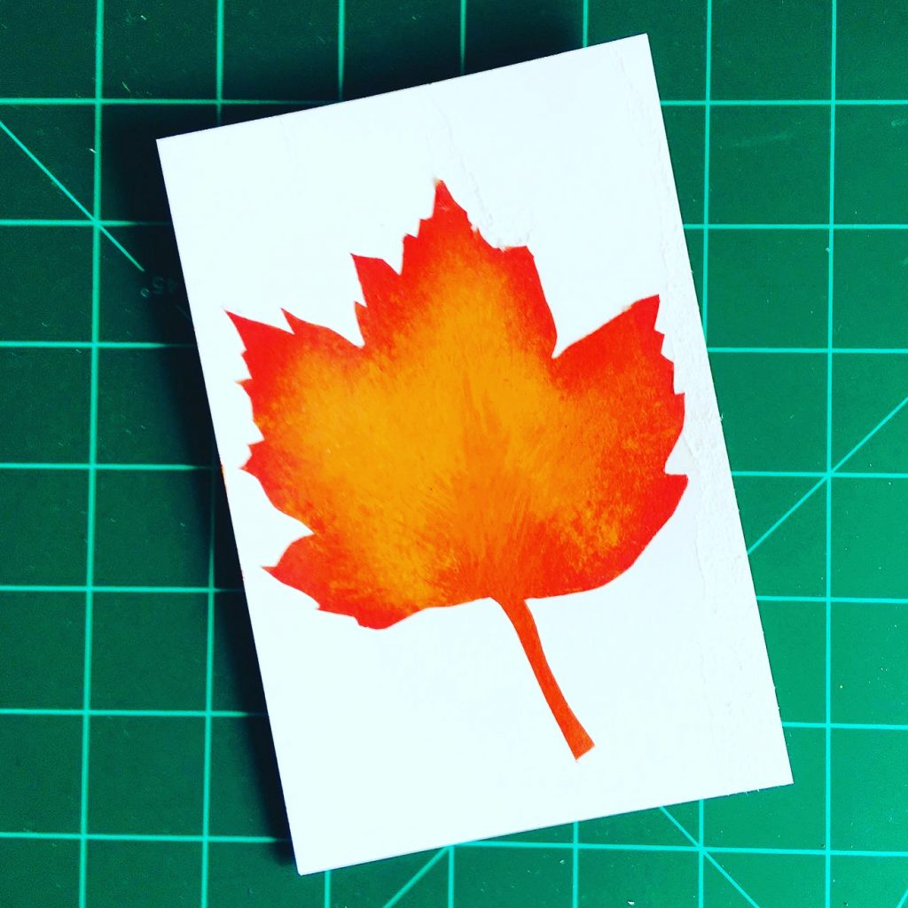 Maple leaf in acrylics
