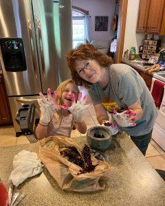 Making poke berry paint