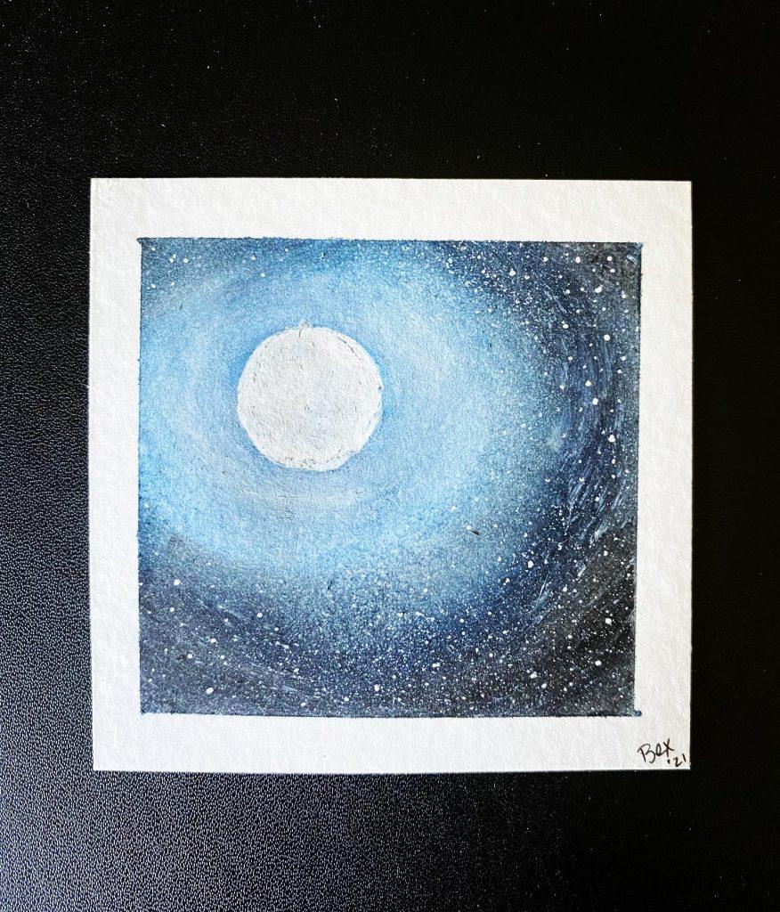 3x3 watercolor moonscape